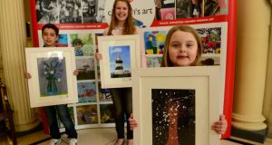 Winners in the Texaco Children's Art Competition  2016 at the Hugh Lane Gallery in Dublin - from left, Ryan Bouakkaz from Santry;   Tara Watson of  Dún Laoghaire,   and Bonnie Sheppard from Belfast. Photograph: Cyril Byrne/The Irish Times