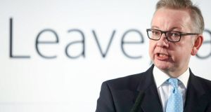 "UK justice secretary Michael Gove has accused the Remain side of running an overwhelmingly negative and pessimistic Brexit campaign, portraying Britain as ""beaten and broken"". Photographer: Chris Ratcliffe/Bloomberg"