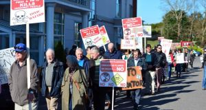 Chase supporters protest outside a Bord Pleanála oral hearing in Carrigaline for an incinerator by Indaver in Ringaskiddy. Photograph: Michael Mac Sweeney/Provision