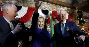 Hillary and Bill Clinton at a campaign stop with Irish American supporters in Manhattan on Monday. Photograph: Mike Segar/Reuters