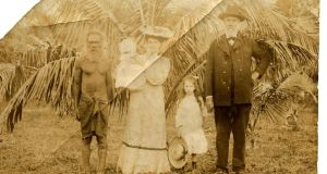 Thomas Clarke as an infant with his family and a tribesman in the Cape of Good Hope.