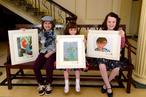 Texaco Children's Art Competition prize-winners Deaghlan McGovern, from Dundalk, with Elle Giblin, of Glasnevin, and Eimear Donovan, from Caherconlish, Co Limerick,  at  the Hugh Lane  Gallery in Dublin. Photograph: Cyril Byrne/The Irish Times