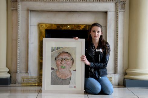 Marta Turalska, Newcastle West, Limerick, holds her first prize winning picture of her grandmother in  the Texaco Children's Art Competition. Photograph: Cyril Byrne/The Irish Times
