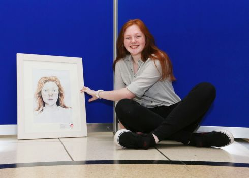 Aoife Casey (14),  a pupil at Our Lady of Mercy school, Waterford, who won the first prize, worth €450, in Category B (14-15 years) for her self portrait in the Texaco Children's Art Competition. Photograph: Mac Innes Photography