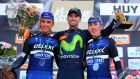 Dan Martin (R) finished third behind Julian Alaphilippe (L)  and Alejandro Valverde in La Fleche Wallonne. Photograph: Getty