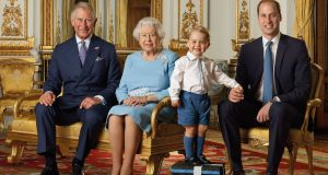 Prince Charles, Prince of Wales, Queen Elizabeth II, Prince George and Prince William, Duke of Cambridge pose during a Royal Mail photoshoot for a stamp sheet to mark the 90th birthday of Queen Elizabeth II. Photograhp: Ranald Mackechnie/Royal Mail/Getty Images