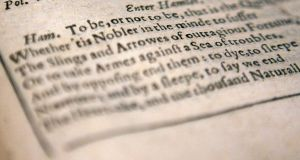 To be, or not to be?: Hamlet's soliloquy in the first folio of William Shakespeare's plays, from 1623. Photograph: John D McHugh/AFP/Getty