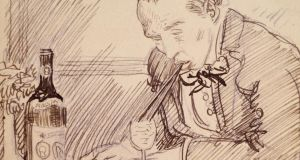 A pencil sketch self-portrait by the artist Sir William Orpen depicting himself drinking wine through two straws