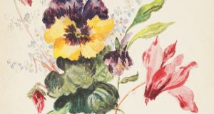 Detail of a watercolour painting of flowers  signed by Kitty (Catherine) Jammet