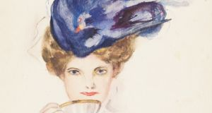 A well-preserved watercolour (captioned 'Over the Teacup') of a woman wearing a glorious Edwardian hat