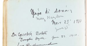 Douglas Hyde and Willie Redmond are among the people who signed the book
