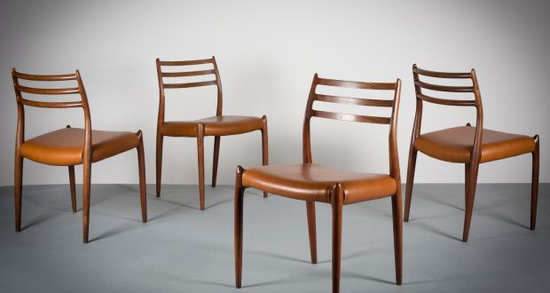 Streamlined Quality: A Set Of Four Model 78 Chairs By Niels Moller (Danish,