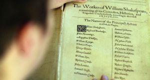 Life's work: the first folio of William Shakespeare's plays, from 1623. Photograph:  Graeme Robertson/Getty
