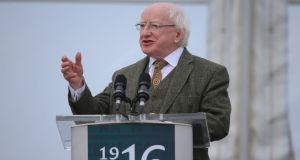 President Michael D Higgins speaking during a ceremony at Banna Strand in Co Kerry to mark the centenary of the capture of Sir Roger Casement. Photograph:  Niall Carson/PA Wire.