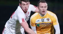 Antrim's Michael McCann in action against Tyrone's Padraig McNulty. McCann has been prominent in the county's unbeaten league run to date. Photograph: Jonathan Porter/Presseye/Inpho