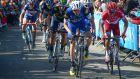 Dan Martin goes on the attack during the closing stages of the Flèche Wallonne Classic in which he finished third. Photograph: Jerome Prevost/EPA.