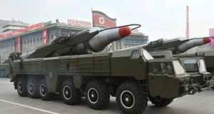 The Musudan rocket is understood to have a range of at least 1,864 miles, long enough to strike, among other targets, US military bases in Guam.  EPA/KCNA SOUTH KOREA OUT