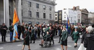 A group parades past the GPO during the Republican Sinn Féin organised Easter Rising commemorative parade, April 23rd, 2016.