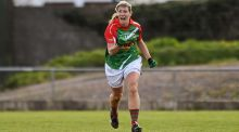 Mayo's Cora Staunton celebrates after scoring her side's winning point late in the  Lidl Ladies'  National Football  League Division One  semi-final against Kerry at   St Brendan's Park in Birr. Photograph:  Ramsey Cardy/Sportsfile