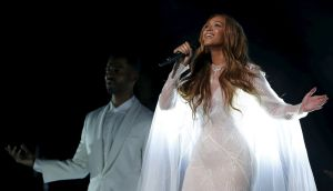 After levelling accusations in her song lyrics about being cheated on, Beyonce made clear in the last tracks of the new album that she has decided to reconcile with rapper Jay Z and continue in the marriage. Photograph: Lucy Nicholson/Reuters