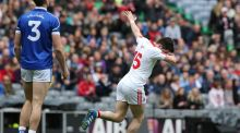 Ronan O'Neill celebrates scoring Tyrone's goal in the Allianz Football League Division 2 Final against Cavan at Croke Park. Photograph: Lorraine O'Sullivan/Inpho