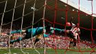 Arsenal's Petr Cech saves from Sunderland's Jermain Defoe during the Premier League game at the  Stadium of Light. Photograph: Lee Smith/Action Images via Reuters/Livepic