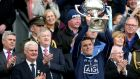 Dublin's Stephen Cluxton lifts the Allianz League Division 1 trophy. Photograph: Ryan Byrne/Inpho