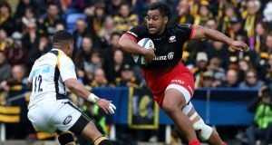 Billy Vunipola of Saracens charges upfield during their defeat of Wasps 24-17 in the  Champions Cup semi-final. Photograph:  David Rogers/Getty Images