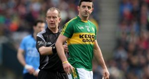 Kerry's Aidan O'Mahony is sent off by referee Eddie Kinsella at the Division One final in Croke Park. Photograph: INPHO/Ryan Byrne