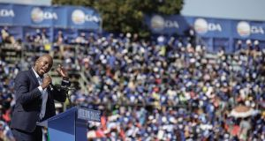 Democratic Alliance leader Mmusi Maimane addresses up to 25,000 supporters at the launch of the party's election manifesto: he told them South Africa under Jacob Zuma was moving backwards, and that change was needed to ensure the delivery of basic services. Photograph: EPA/Kevin Sutherland