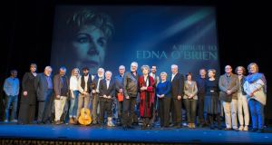 Edna O'Brien with members of the cast and guest performers prior to a special tribute performance to the writer at the Gaiety Theatre in Dublin last night.Photograph: Dave Meehan