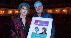 Edna O'Brien with director John McColgan, who presented her with a framed portrait before the tribute performance for her at the Gaiety Theatre in Dublin last night. Photographs: Dave Meehan