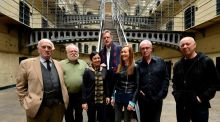 Patrick Mason (c), with the writers of Signatories: Thomas Kilroy, Frank McGuinness, Rachel Fehily, Marina Carr, Joe O'Connor and Hugo Hamilton. Photograph: Cyril Byrne