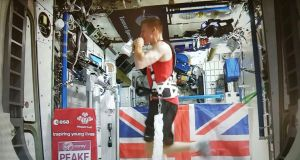 British astronaut Tim Peake running the route of the London Marathon while strapped to a treadmill at the International Space Station. Photo: European Space Agency/PA Wire
