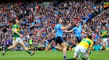 Paul Flynn celebrates after taking advantage of hesitation in the Kerry defence to score Dublin's first goal in the Allianz Football League Division One Final. Photograph: Cathal Noonan/Inpho.