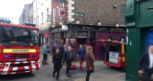 The scene at Lower Baggot Street in Dublin where a fire broke out at an ESB substation. Photograph: Dublin Fire Brigade