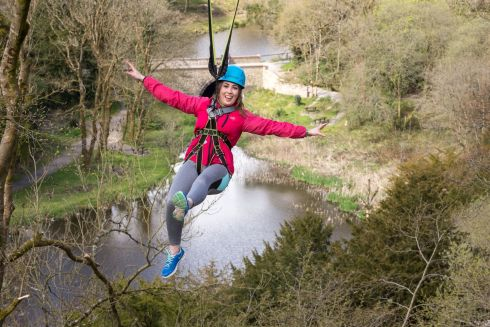 KILKENNY: Margaret Nolan from Castlecomer trying the new zip line at Castlecomer Discovery Park in Kilkenny. Photograph: Dylan Vaughan