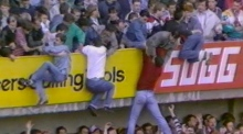 Archive footage of the 1989 Hillsborough disaster
