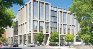 A newly designed office block intended to replace three others at the corner of Lower Mount Street and Clanwilliam Place