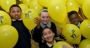(L to R) Abdi Mooge, Ciara Lynam, Julie Nguyen and Job Makiese, from St Ronan's National School, Deansrath, Clondalkin, Co Dublin, at the Yellow Flag awards.