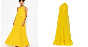 Have a mellow yellow summer's evening with this ruffle-pleated maxi dress from Asos for €49.29 (left) or heat things up a bit with this Stella McCartney Astrid dress for €3,445 from Brown Thomas (right).