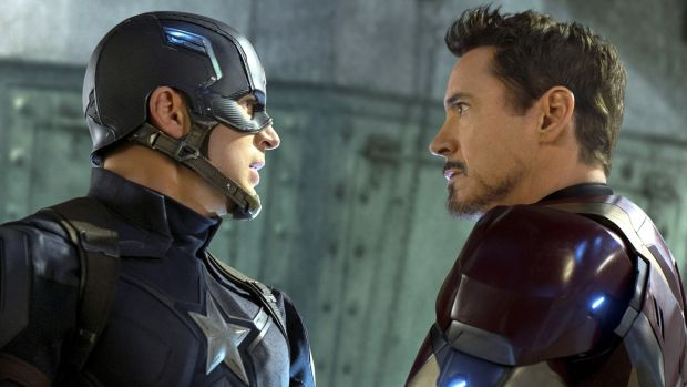 054a74022df Two tribes  Chris Evans and Robert Downey Jr in Captain America  Civil War.