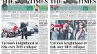 Handout photos issued by 'The London Times' of the front page of their first edition of Wednesday's newspaper (l) and their second edition (r). Photograph: The Times/PA Wire