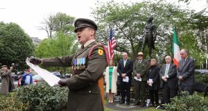 Defence Forces Captain Peter Kelleher  reads the 1916 Proclamation at the ceremony in Washington