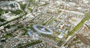An aerial view of the proposed national children's hospital site at St James Hospital, Dublin