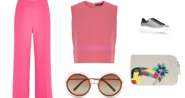 9f7835ba8a58 Cropped wide leg trousers €50 River Island  pink crop top €150 Emma Manley