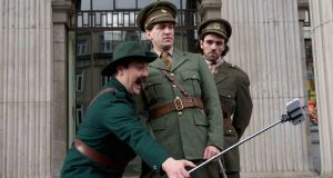 Pathos and farce: Peter Coonan, Owen McDonnell and Seán T Ó Meallaigh from TG4's Wrecking The Rising