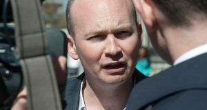 Legal aid has been assigned to Anti-Austerity Alliance TD Paul Murphy in relation to his trial on charges of falsely imprisoning Tánaiste Joan Burton during a water charges protest almost 18 months ago. Photograph: Dave Meehan/The Irish Times.