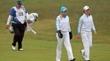 Leona Maguire and Stephanie Meadow during the 2012 Curtis Cup at Nairn. Photo: Inpho