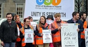 Orchestrated protests were held in Dublin and Galway during Thursday afternoon to highlight the need to preserve the entire mental health budget of €35 million amid attempts to divert one-third of this funding towards other areas in the HSE. Photograph: Eric Luke/The Irish Times